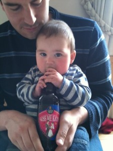 "Alex and his ""Kiss me Kate"" beer!"